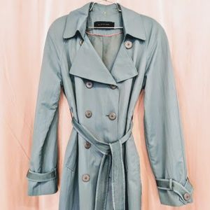 Elie Tahari Blue Trench Coat Jacket Size XL